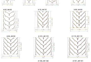 Схемы расположения профилей шевронных лент